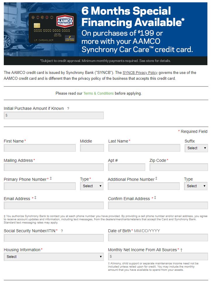 aamco synchrony car care credit card application credit cards login. Black Bedroom Furniture Sets. Home Design Ideas