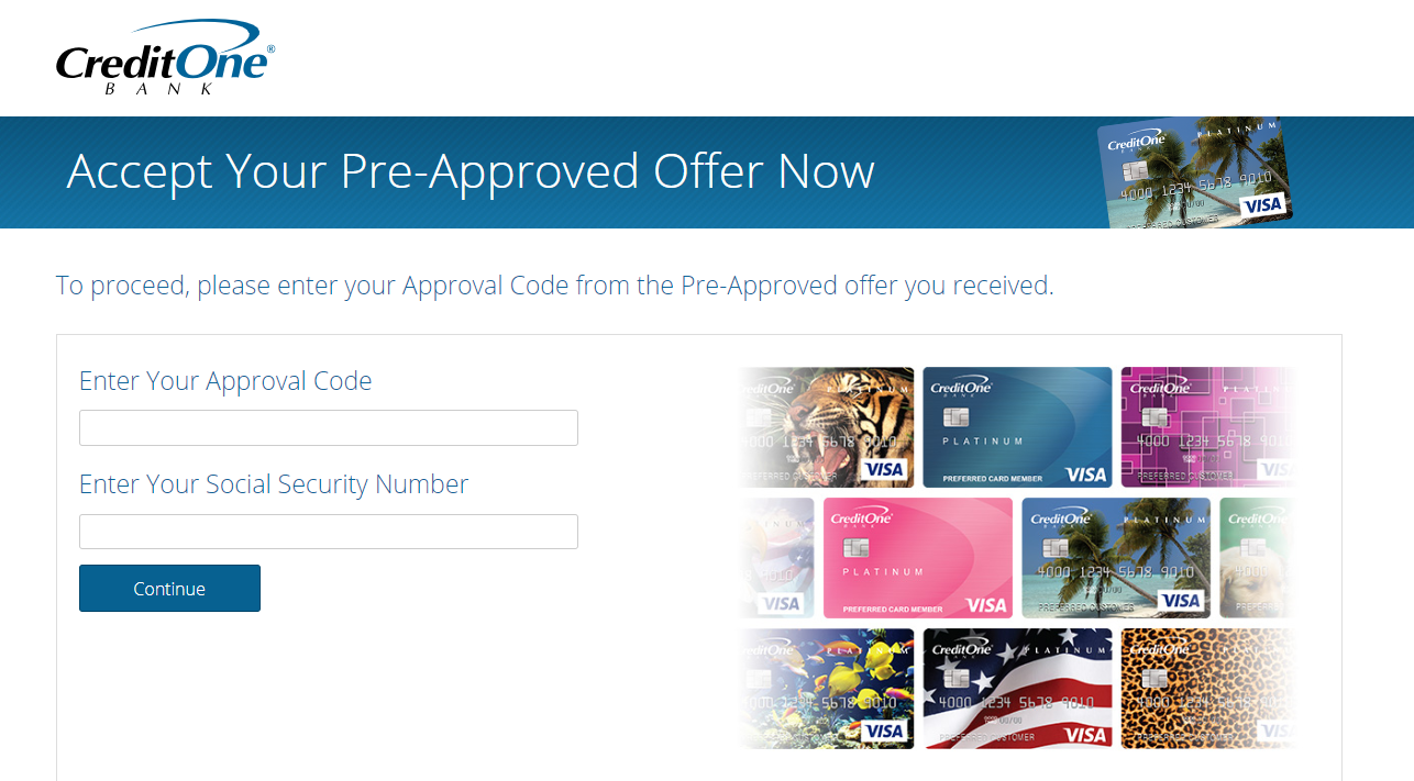 Credit One Pre Approval >> Www Accept Creditonebank Com Enter Approval Code To Apply Credit