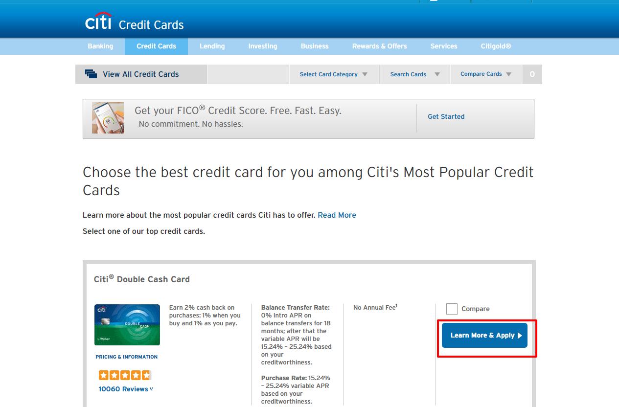 Top Credit Cards Citi com