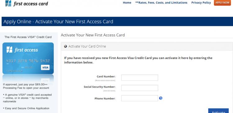 Visa Credit Card Login >> Www Firstaccesscard Com First Access Visa Credit Card