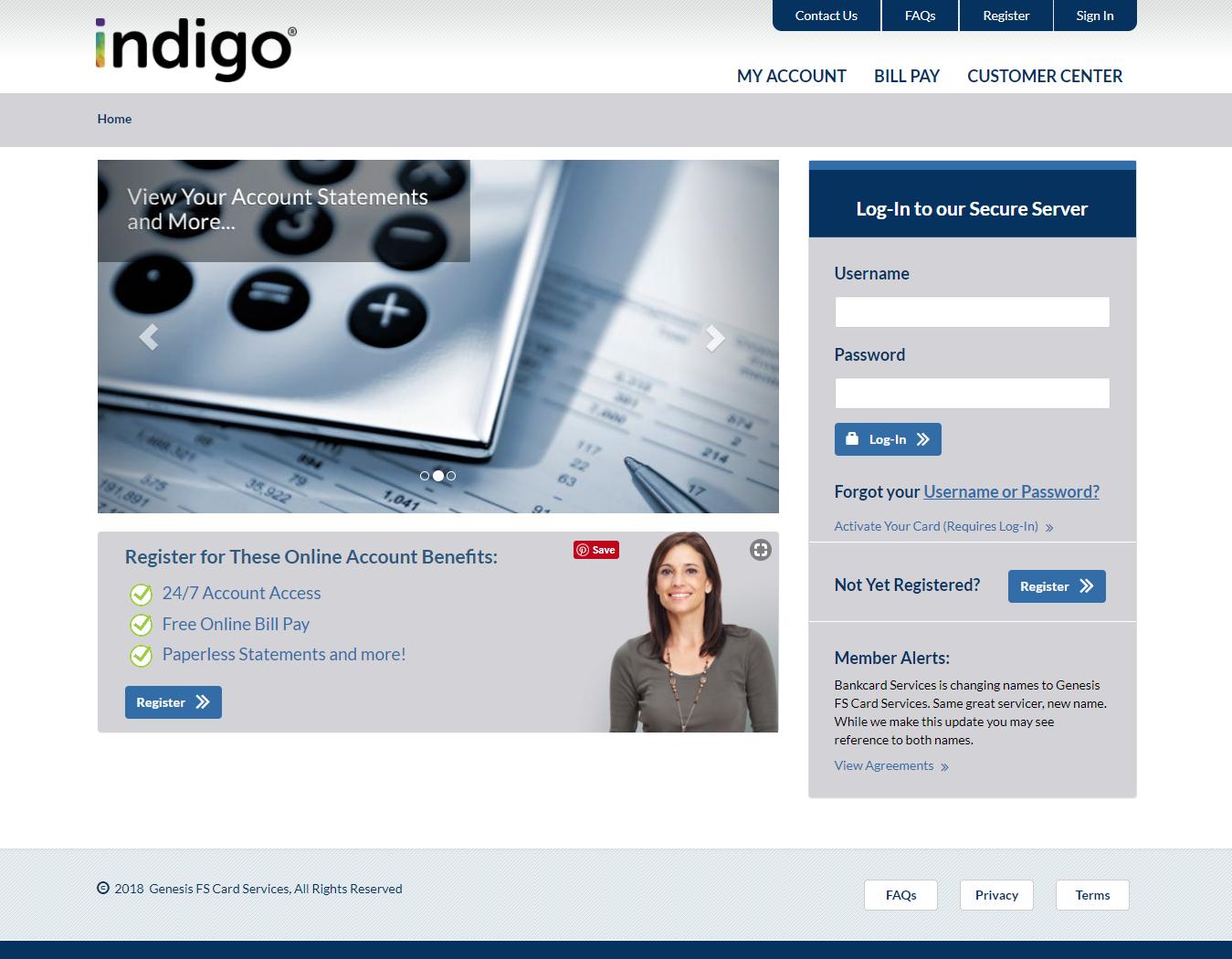 Indigo Platinum MasterCard login