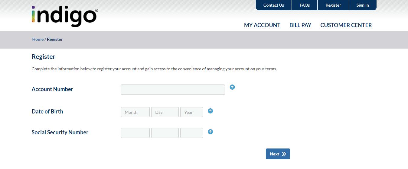 Register Indigo Platinum MasterCard