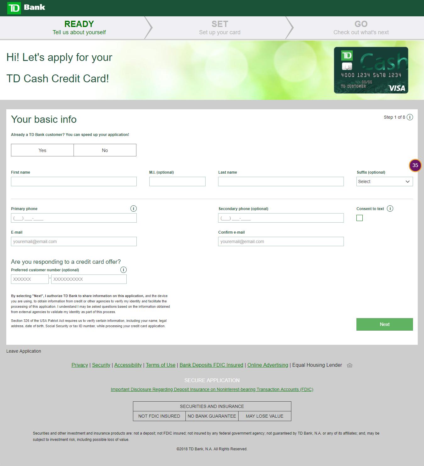 www tdbank com/applynow6 – Apply for TD Cash Credit Card