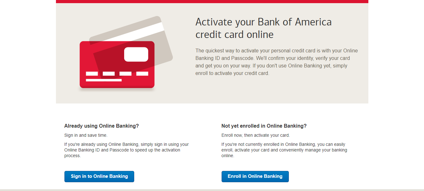 Bank of America Card Activation Welcome to Card Activation