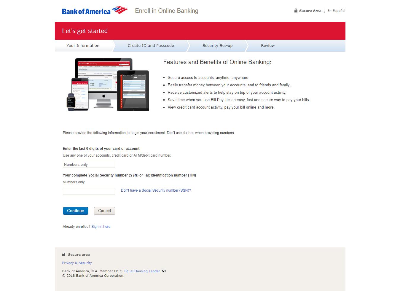 Bank of America Online Banking Enrollment