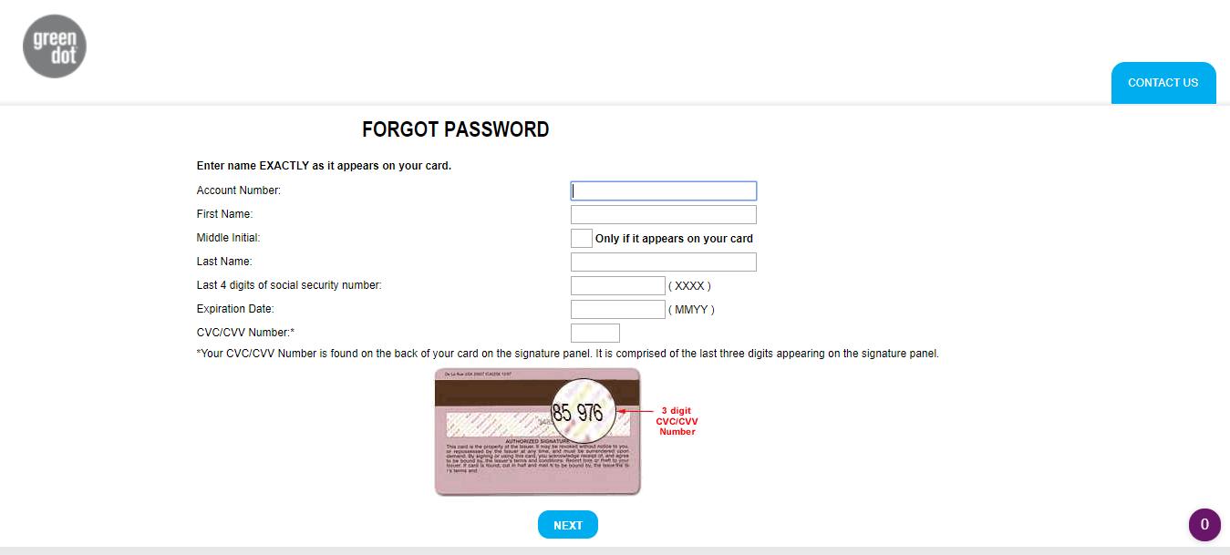 Green Dot Card Forgot Password