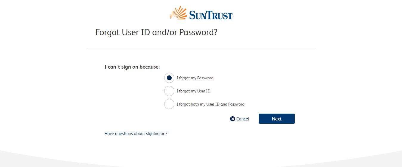 SunTrust credit card id