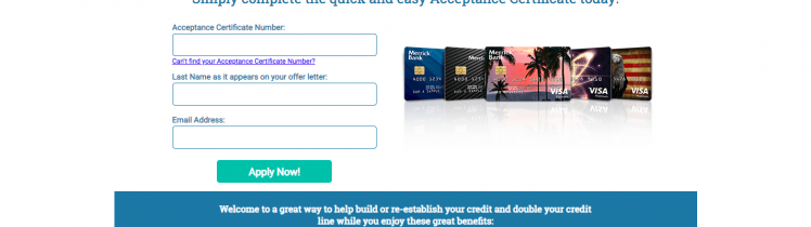 Merrick Bank Credit Card Application Offer Verification Mail Offer