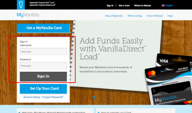MyVanilla Reloadable Prepaid Card