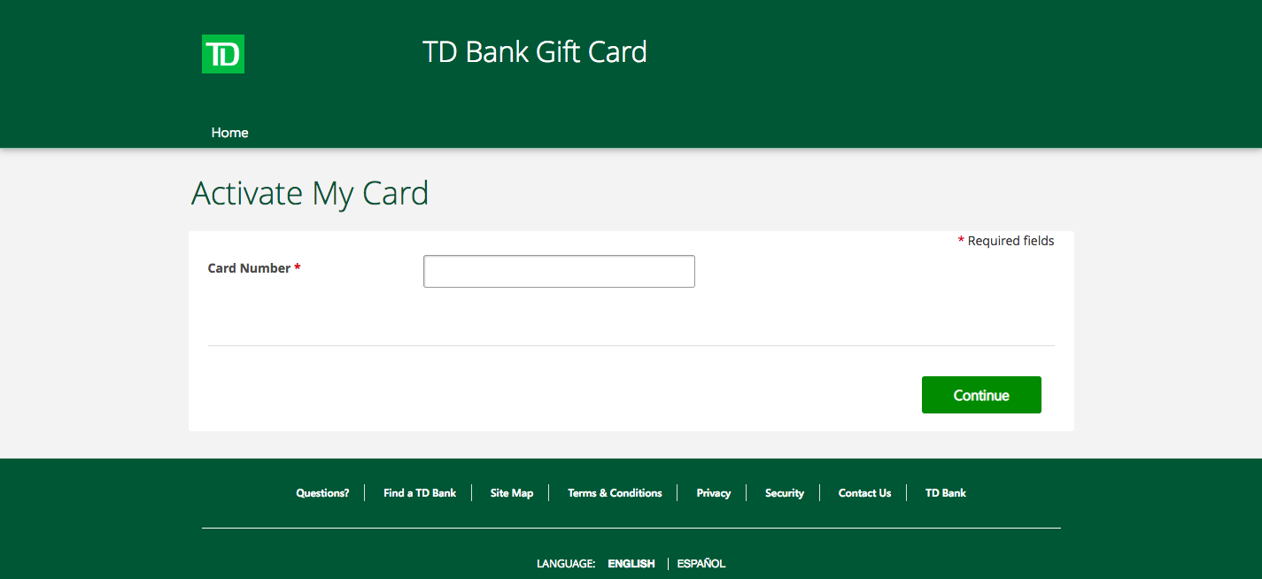 TD Bank Gift Card Activate My Card