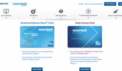 Jackson Hewitt Tax Return Early Access and Prepaid Card American Express Serve