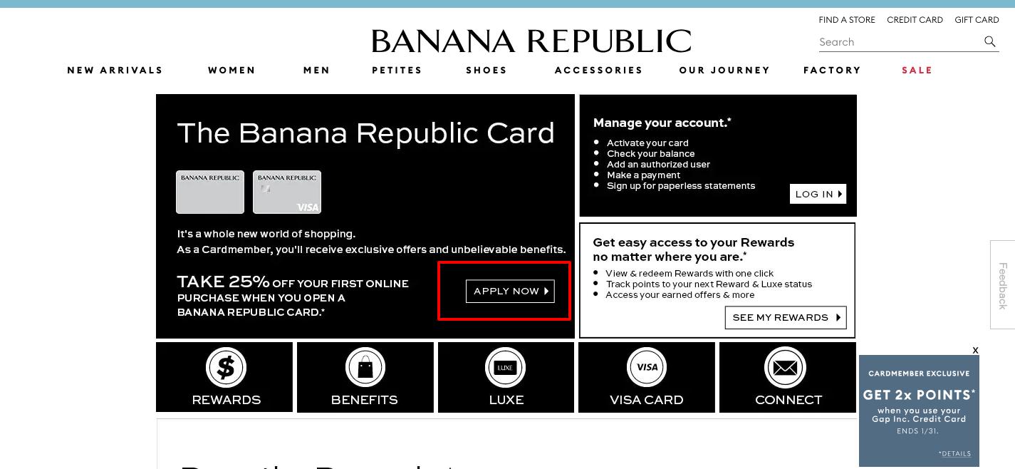 Banana Republic credit card apply