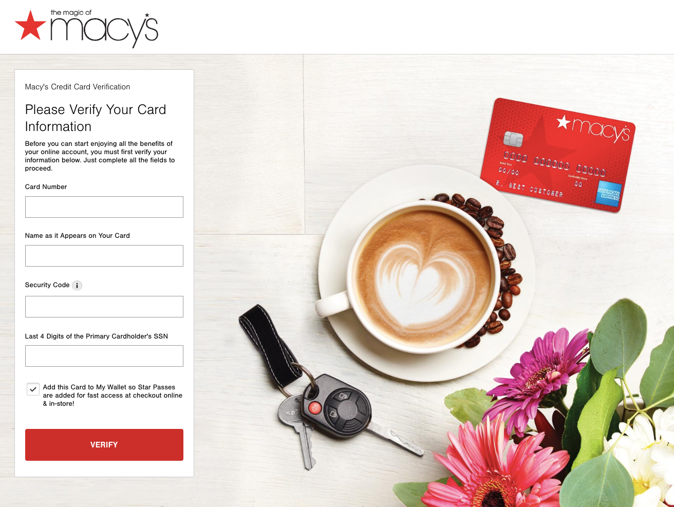 Macy s Credit Card Registration Verification