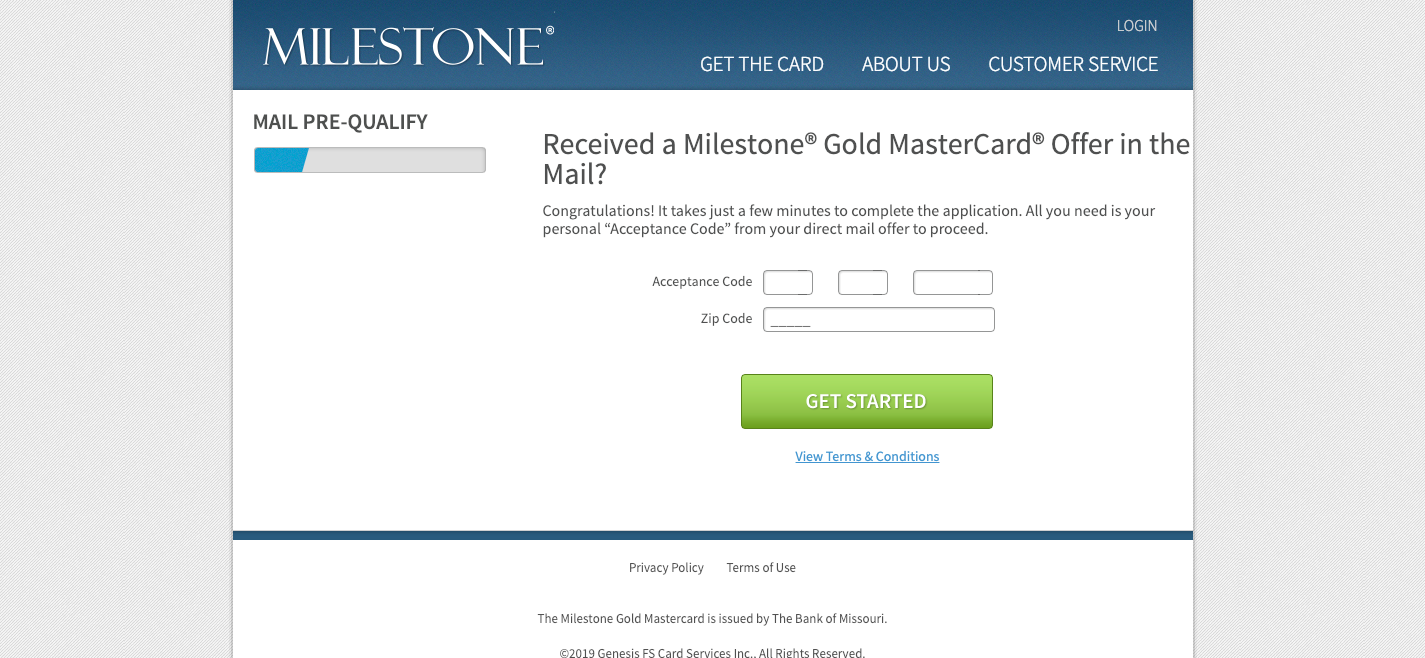 Milestone Card Mail Offer