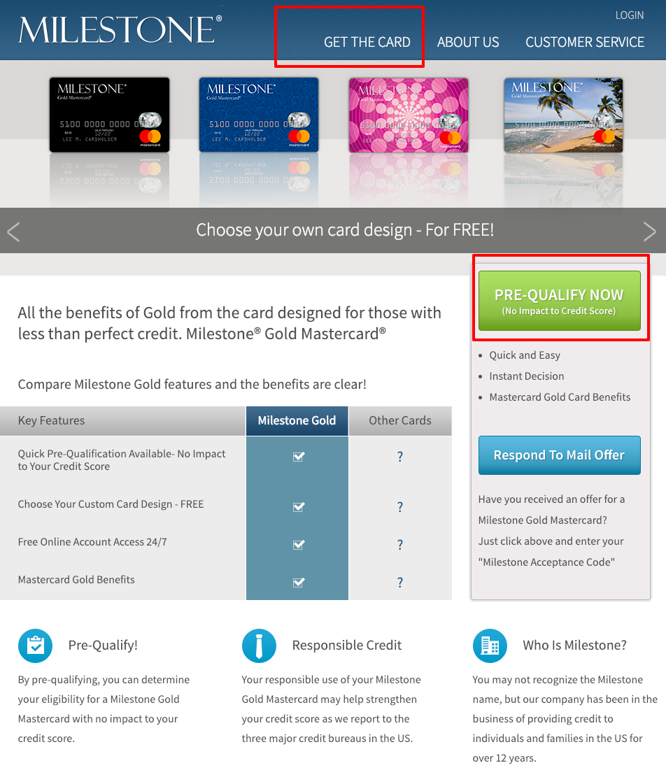 Milestone Card Milestone Gold MasterCard