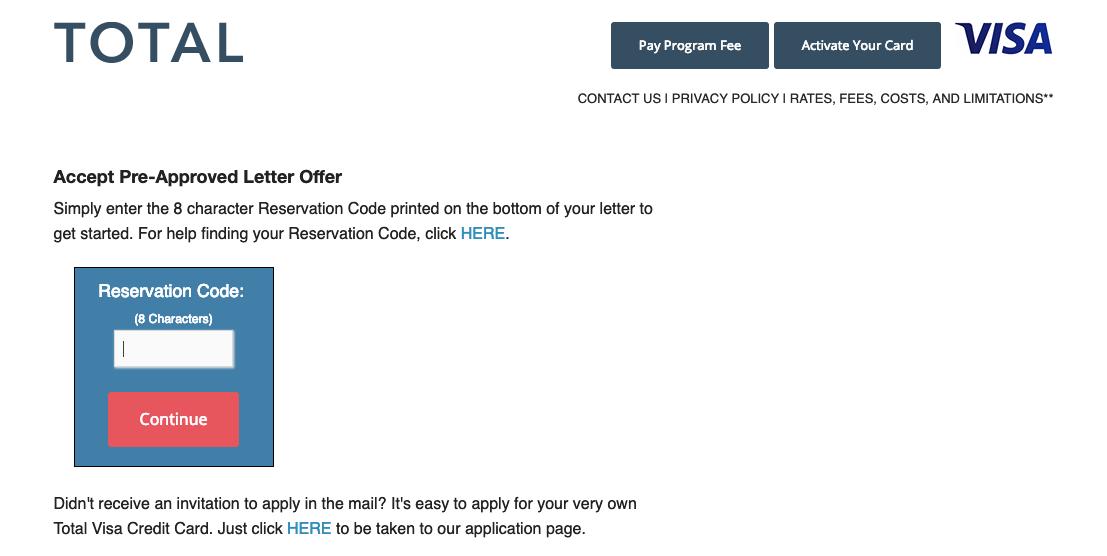 Total Visa card mail offer
