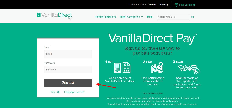 VanillaDirect login