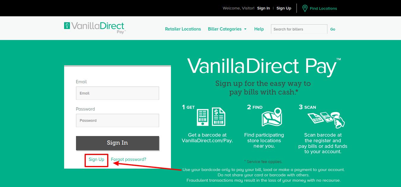 VanillaDirect sign up