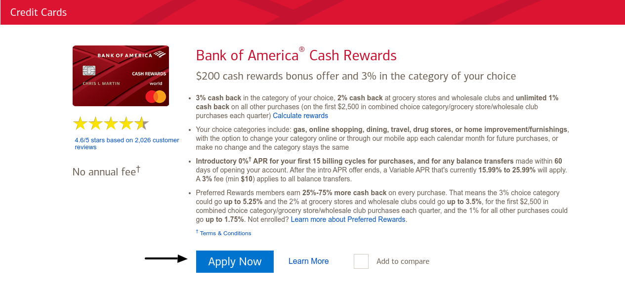 Bank of America Crdit Card Apply