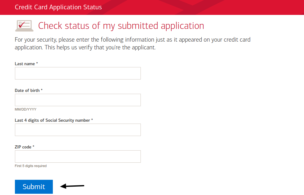 Check Status of Credit Card Application from Bank of America