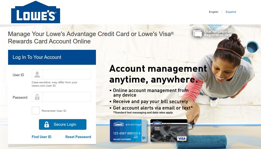 lowes visa credit card login