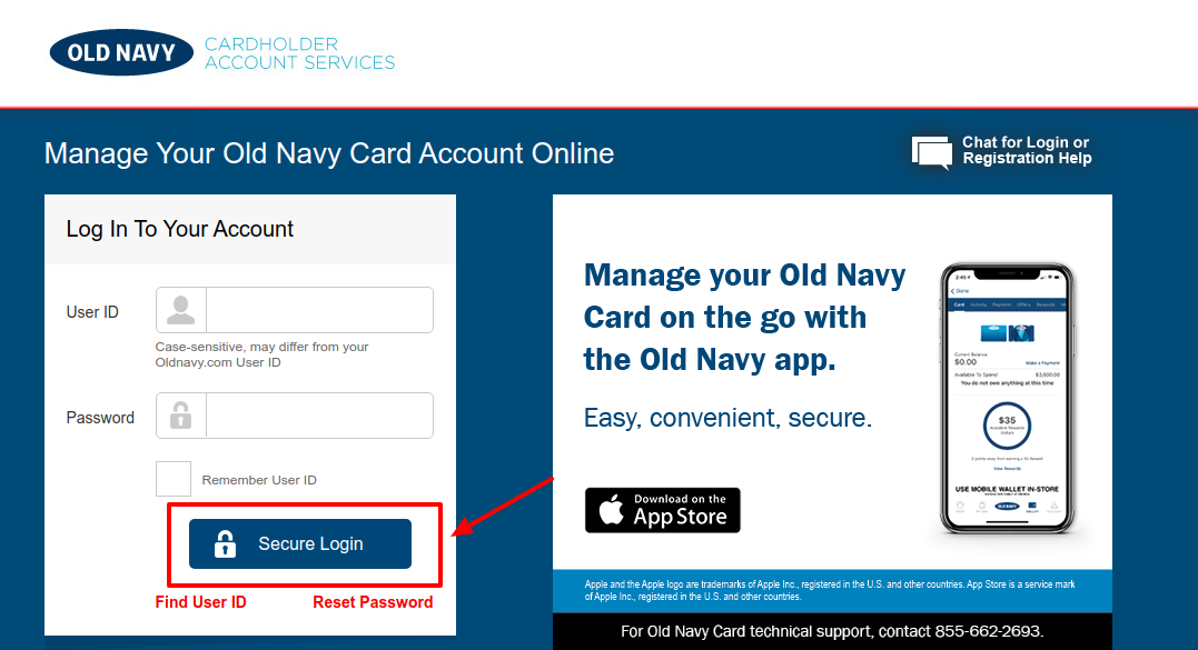 Old Navy Credit Card Account Login