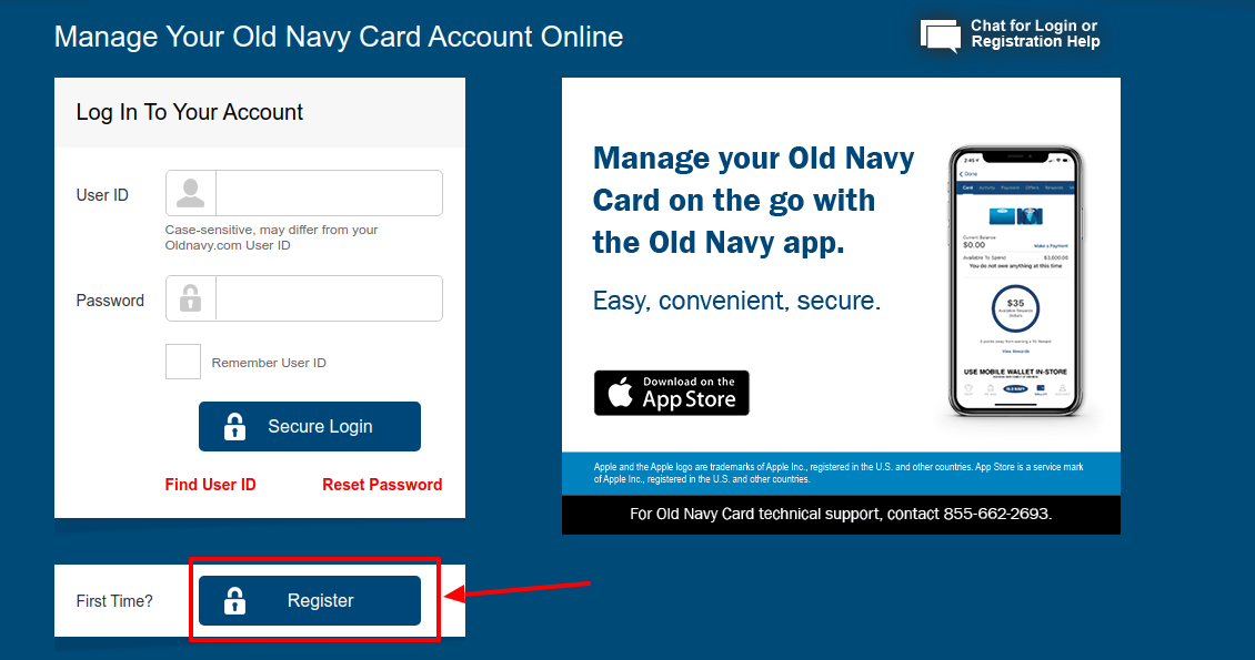 Old Navy Credit Card Register
