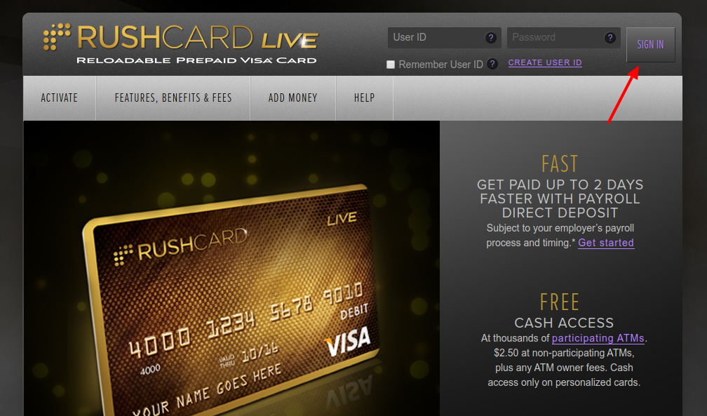 RushCard Prepaid Visa Debit Card Sign In