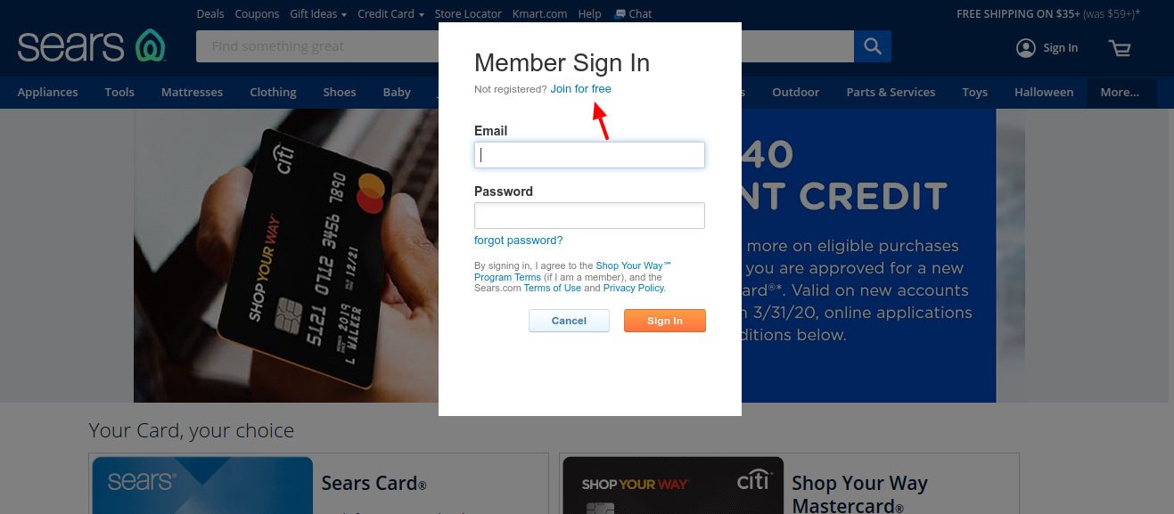 Sears Credit Card Join