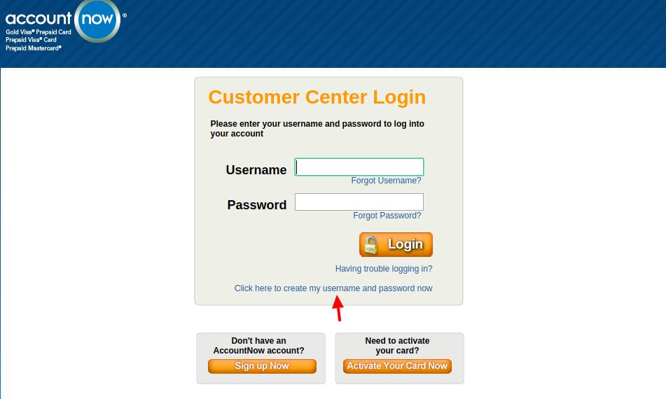 AccountNow Prepaid Card Create Account