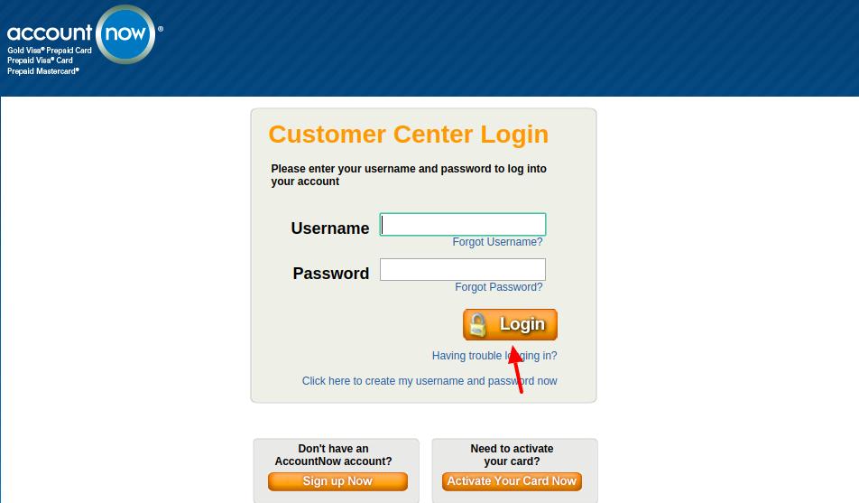 AccountNow Prepaid Card Login