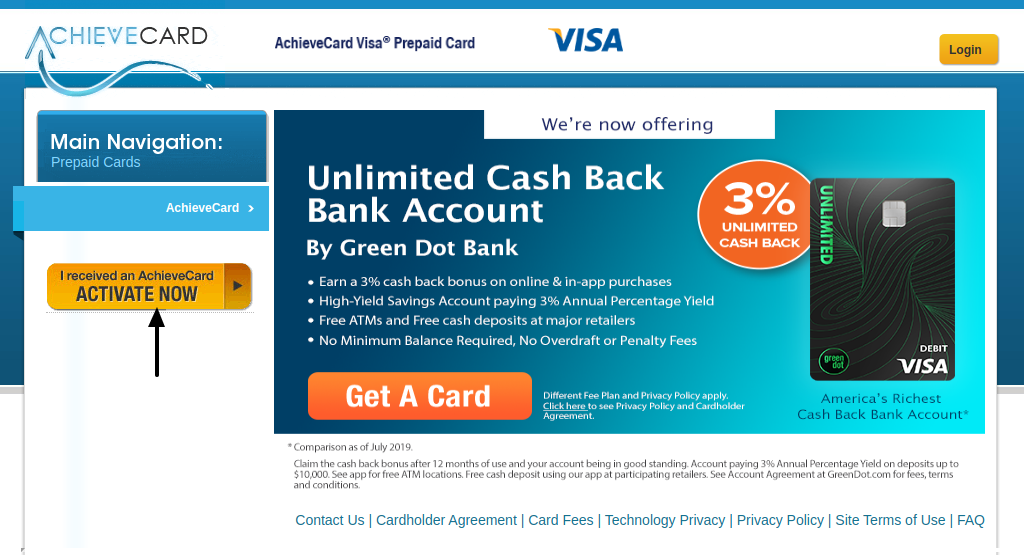 AchieveCard Activate a Card