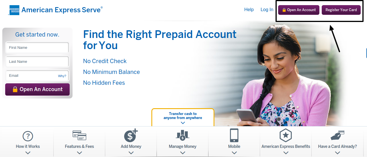American Express Serve register or opent account
