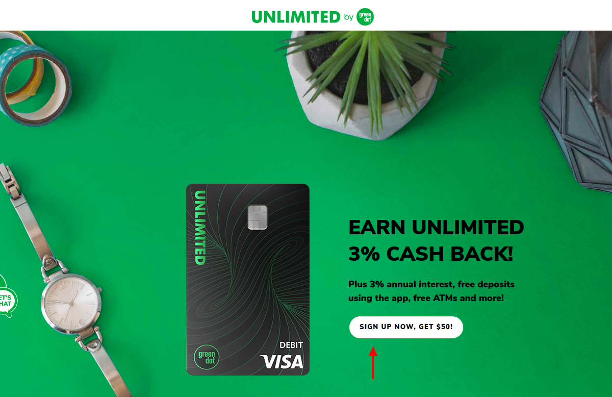 Green Dot Unlimited Cash Back Bank Account Sign Up