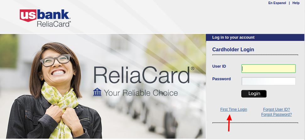 U.S. Bank ReliaCard First time login