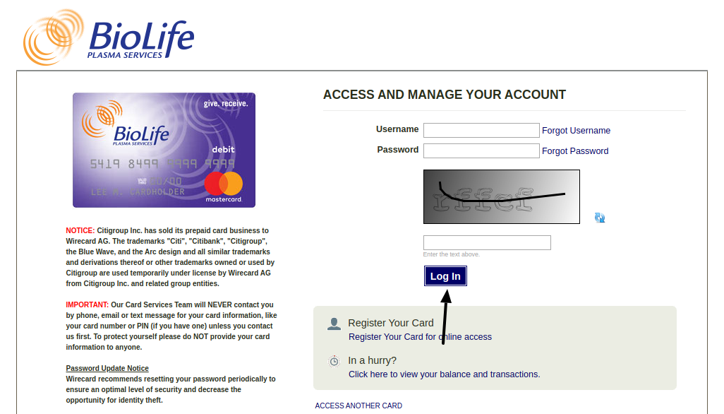 BioLife Prepaid Card Login