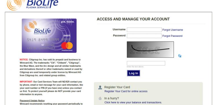 BioLife Prepaid Card Logo
