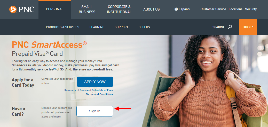 PNC SmartAccess Prepaid Visa Card Login