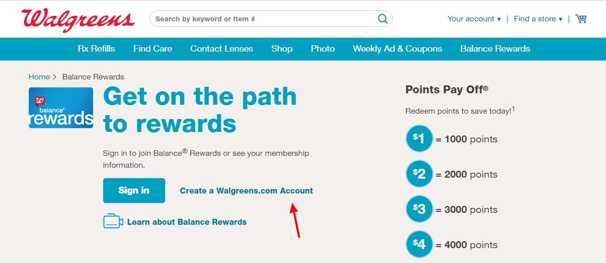 Walgreens Create Account
