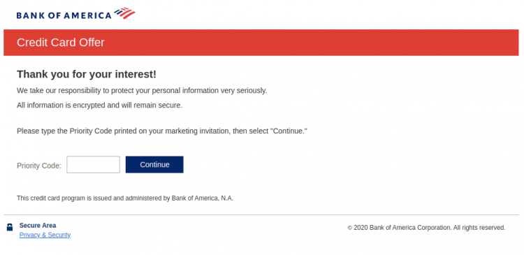 Bank of America Credit offer