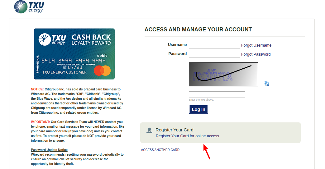 TXU Card Register