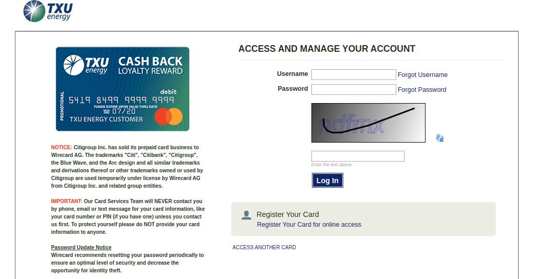 Citibank Prepaid Login >> www.txu.com/cashback - Access To TXU Cash Back Rewards ...