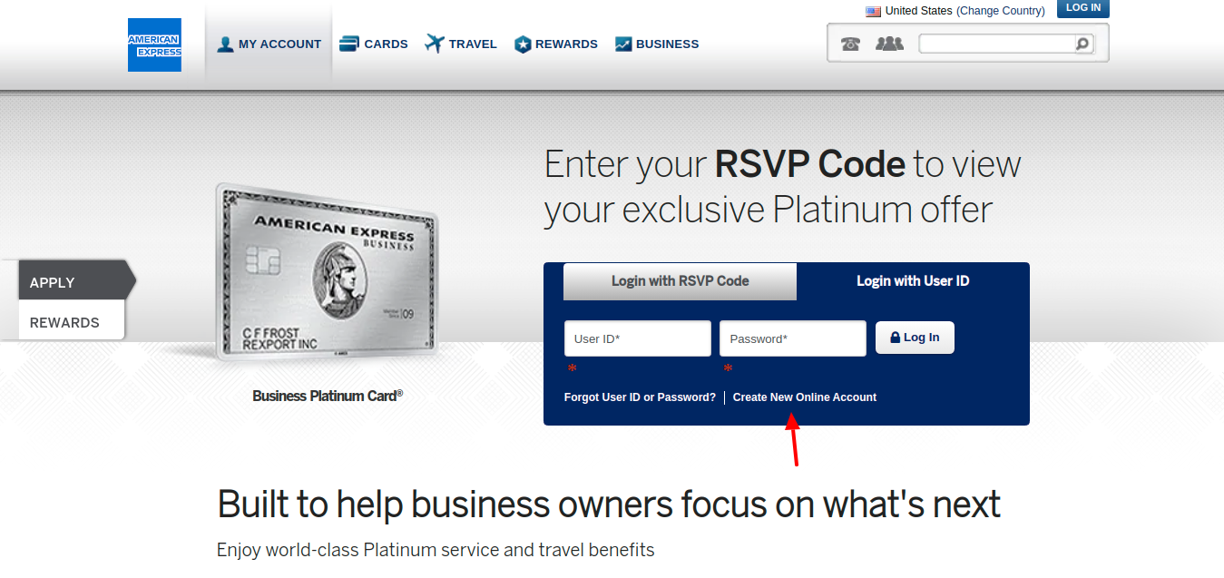 Amex Business Platinum Card Create Account