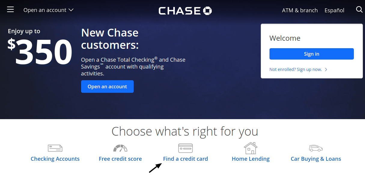 Chase Credit Card Find