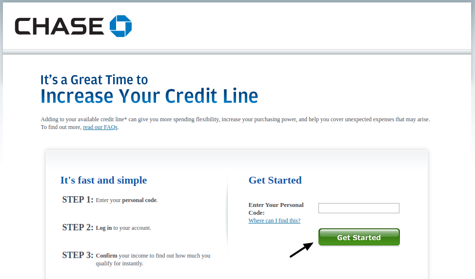 Chase bank credit card limit