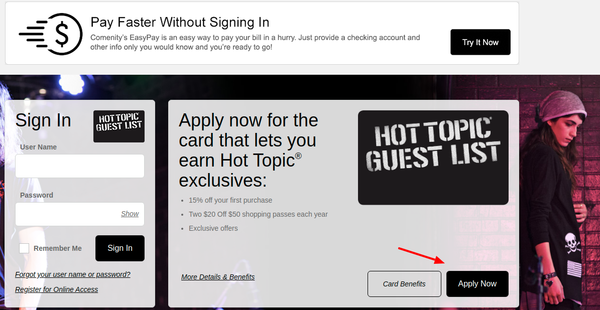 Hot Topic Guest List Credit Card Apply