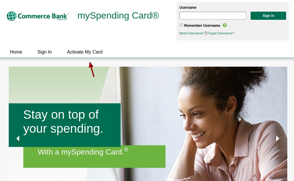 mySpending Activate a Card