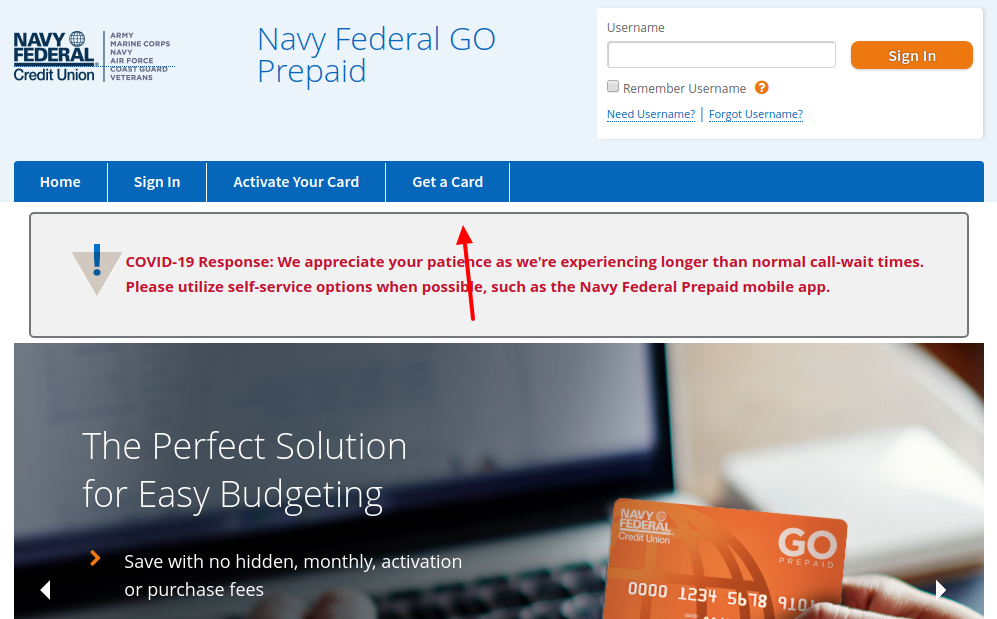 Navy Federal GO Prepaid Get Card