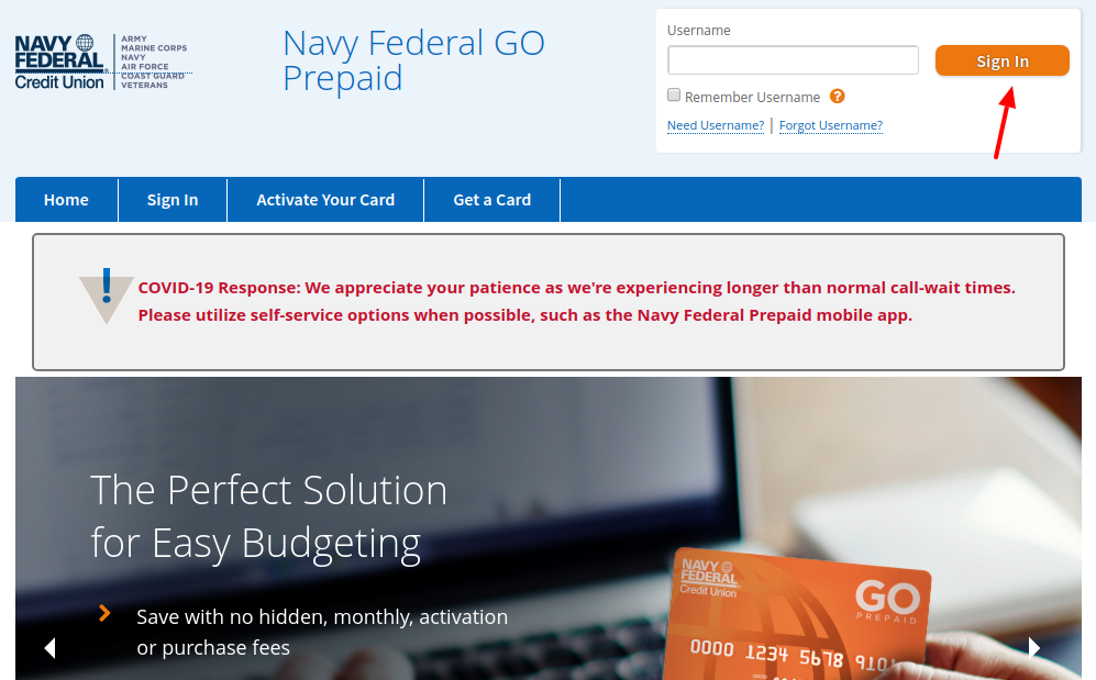 Navy Federal GO Prepaid Sign In