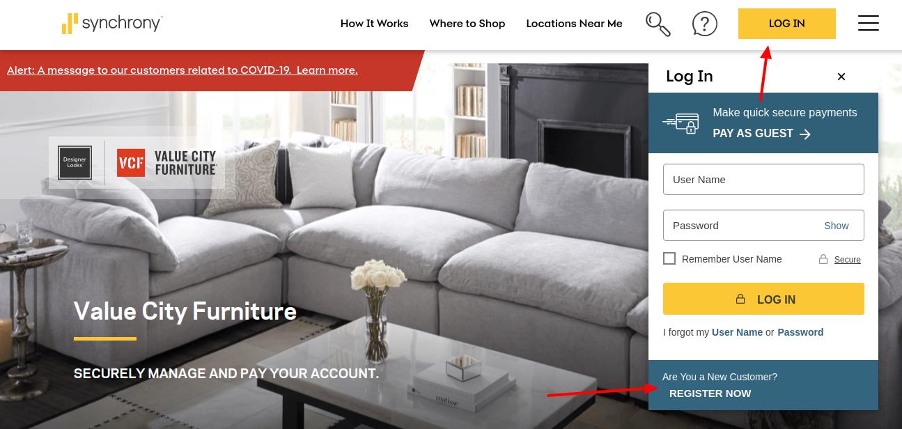 Value City Furniture Credit Card Register